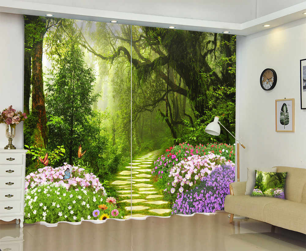 Field Trail In The Forest 3D Curtains  for Bedding Room Living Room or Hotel Cortians Thick Sunshade Window Curtains