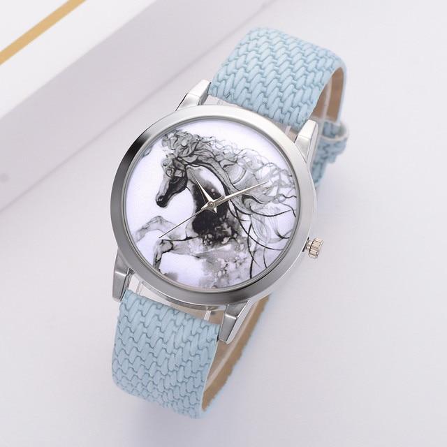 Woman Fashion Leather Band Analog Quartz Round Wrist Watch Animal horse pattern