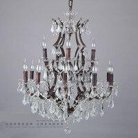 15 braços grande lustre antigo Villa star hotel lustre de cristal de luxo ferro vela lustre clube sala lâmpada de cristal