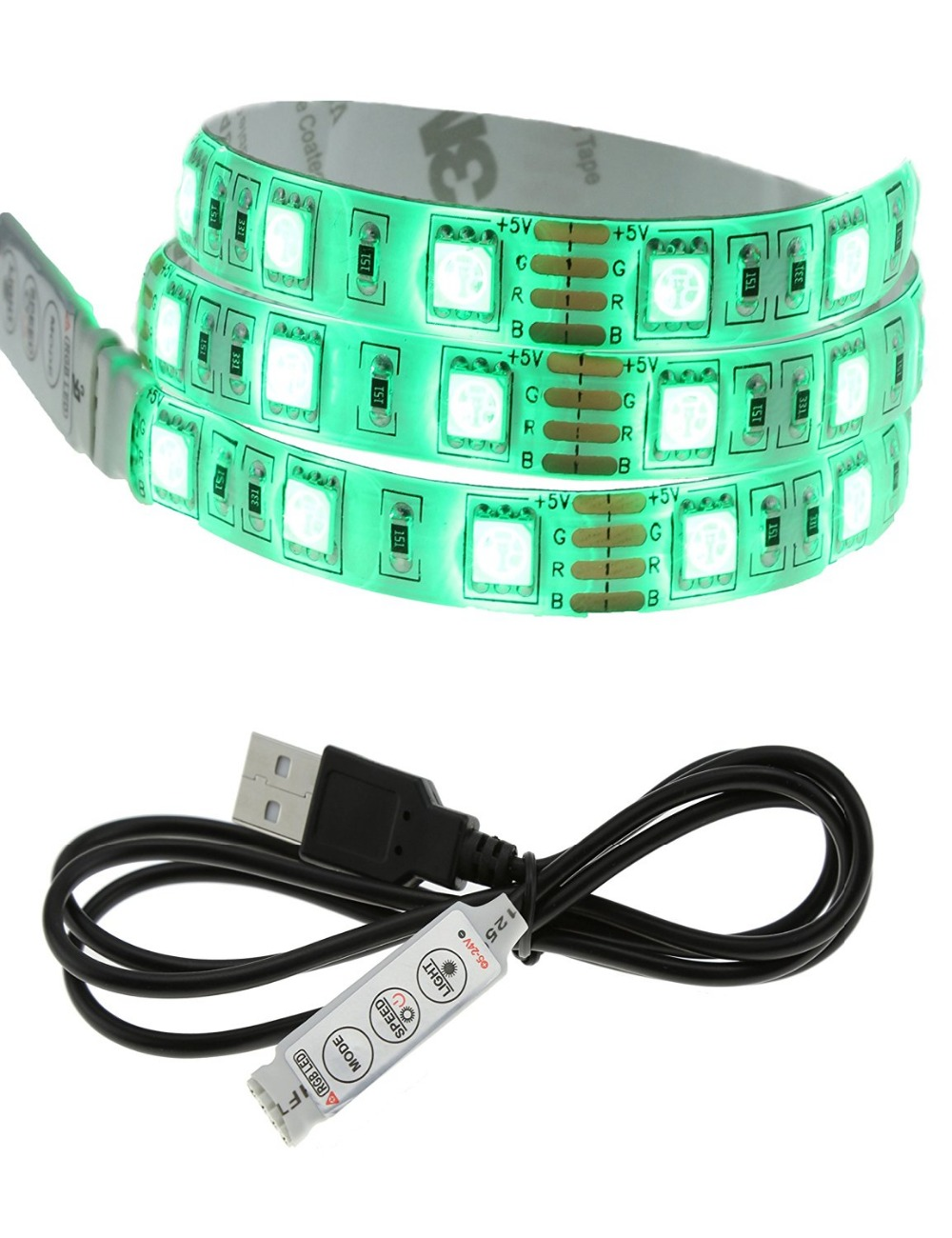 usb lamp led strip light dc5v 5050smd 1m waterproof and non waterproof white warmwhite RGB with mini controller led tape