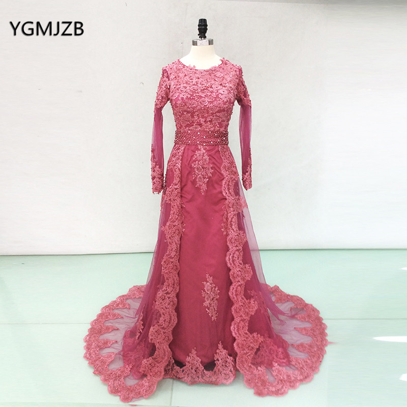 Real Picture African   Evening     Dress   2018 Mermaid Appliques Beaded Long Sleeves Elegant Formal Prom Party Gown Robe De Soiree