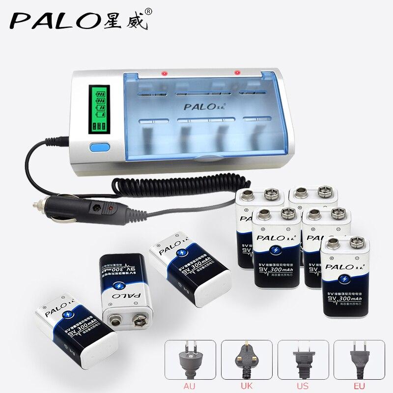 Chargeur de batterie rapide Intelligent PALO avec affichage LCD pour batterie rechargeable 1.2 V Ni-MH NI-CD AA/AAA/SC/C/D/9 V + batterie 8 pièces