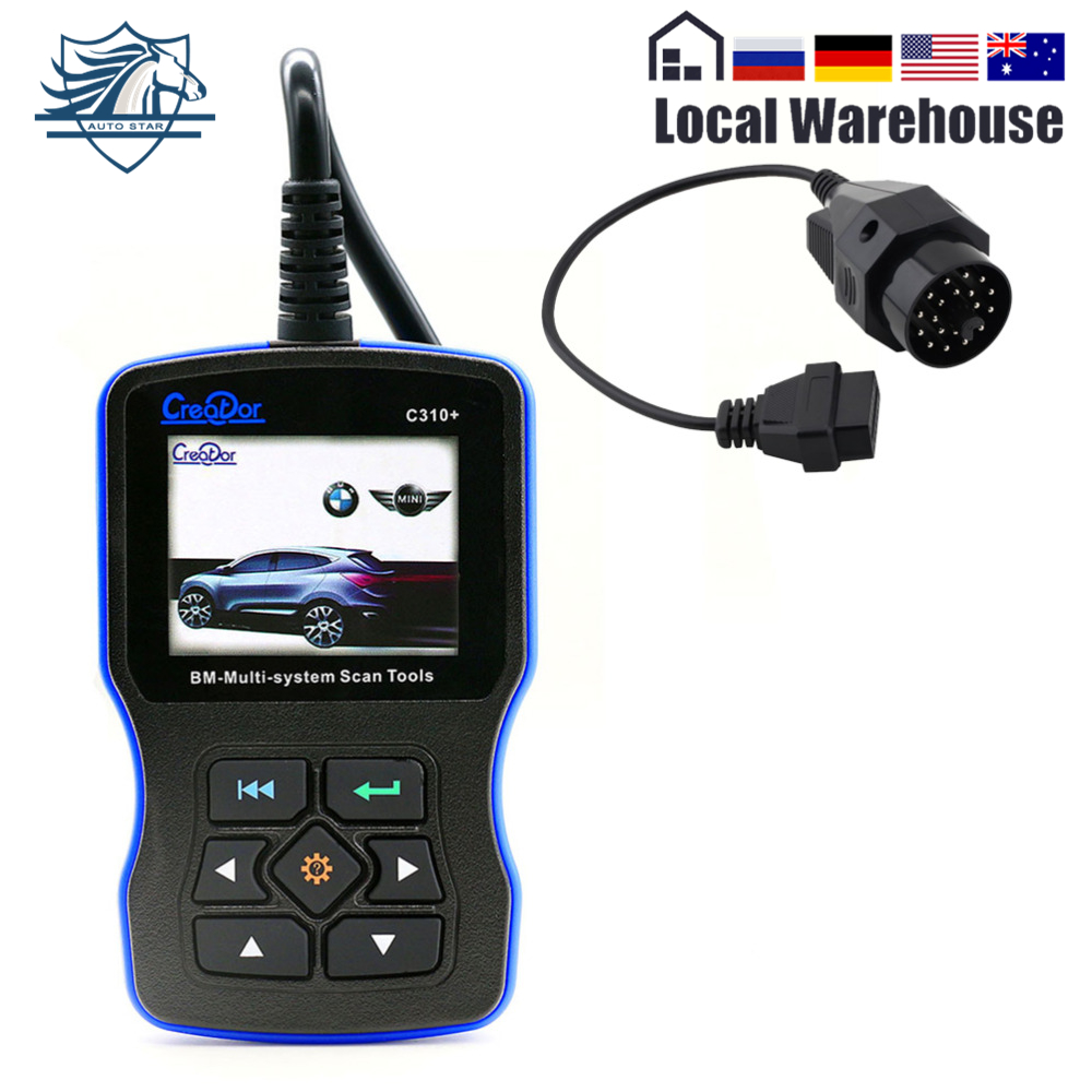 OBD2 сканер для BMW создатель C310 + V7.0 подушка безопасности/ABS/SRS диагностического инструмента для BMW e46 e39 e90 код читателя с 20pin кабель