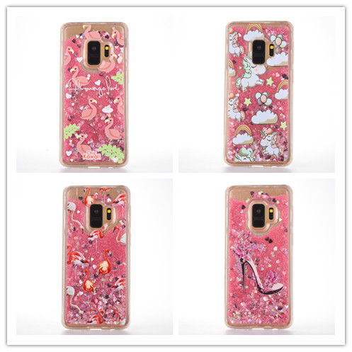 10pcs/lot Chic <font><b>Hawaii</b></font> Flamingo Unicorn Shine Liquid Quicksand Dynamic Back Clear Cover <font><b>Phone</b></font> <font><b>Case</b></font> For Samsung S9 PLUS Shell Capa