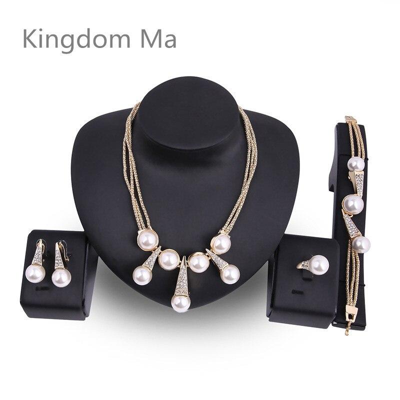 Kingdom Ma couleur or nigérian mariage perles ensemble de bijoux Dubai mariée demoiselle d'honneur Imitation perle de mariage élégant fête cadeau ensembles