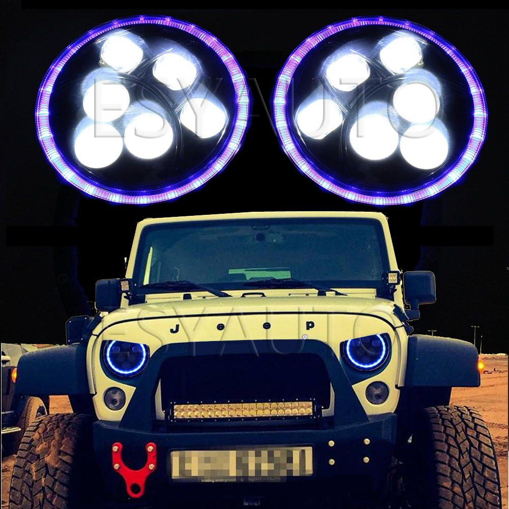 ФОТО 7 Inch 60w Led Projector Headlight blue Turn Signal Halo and blue DRL for 97-15 Jeep Wrangler Jk Tj (Pair)