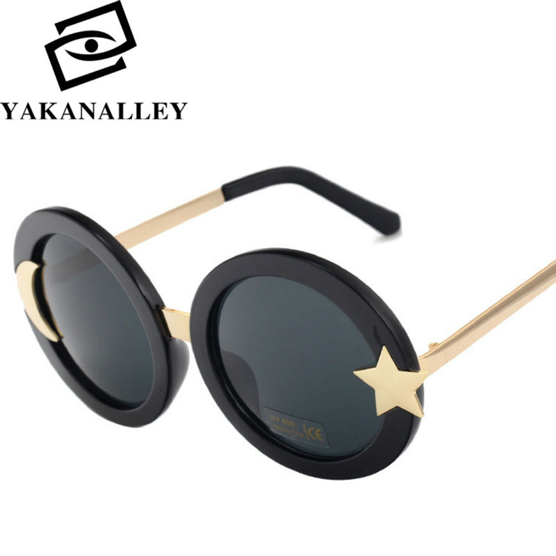 [YAKANALLEY] 2016 stars the moon sunglasses frame sky  glasses Brand Cool Retro Vintage Womens Mirrored Lens Holiday Sunglasses