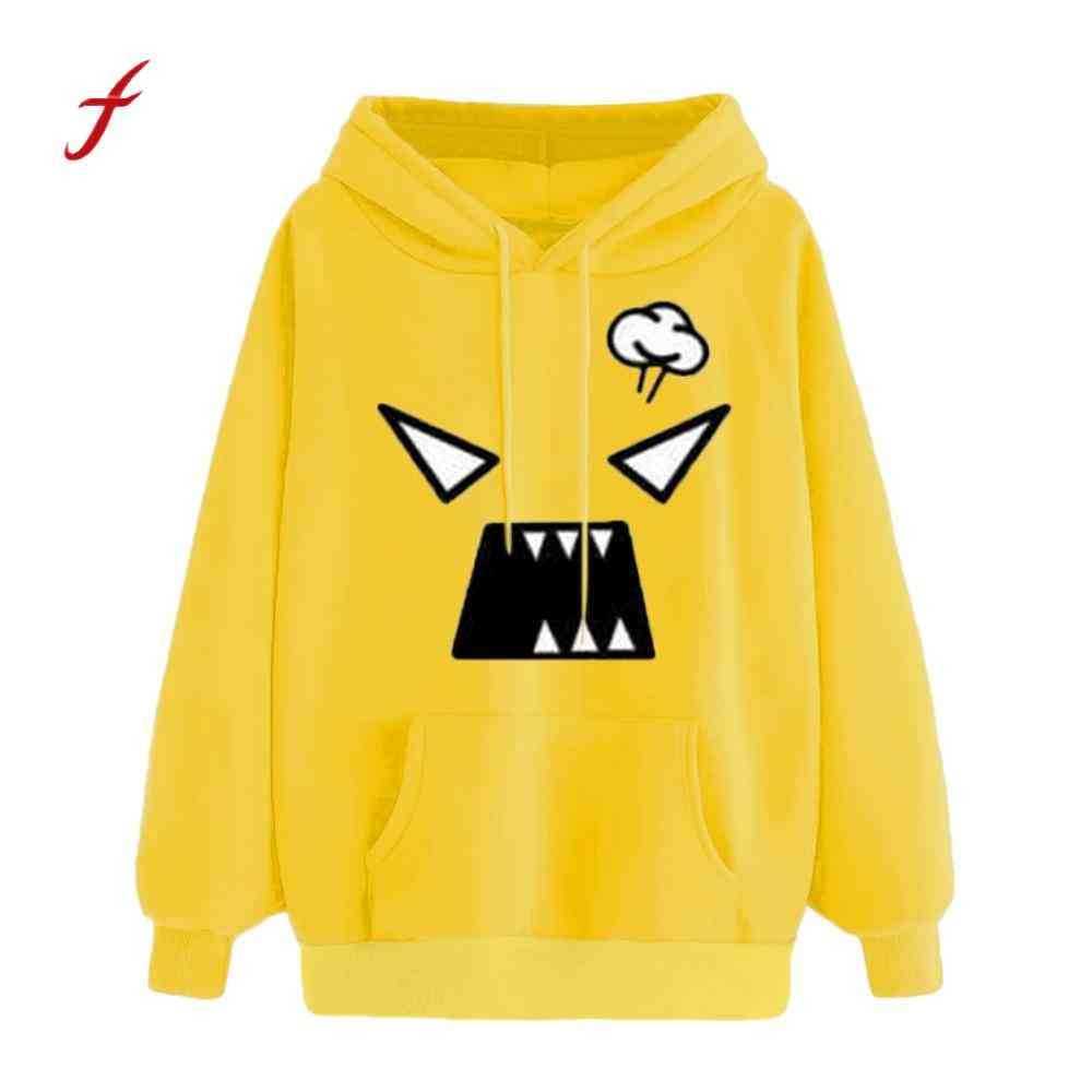 Women Winter Autumn Angry Emoticon Print Pocket Hooded Long Sleeve Sweatshirt Tops Hooded Fashion Daily Cute Shirts #3