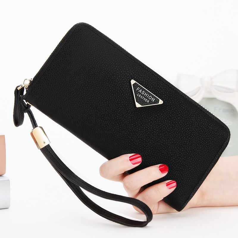 Universal Soft PU Leather Cell Phone Bag Pocket Zip Wallet Pouch Case Lady Female Purse Portable Casual Handbag 6 inches EEMIA