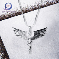 Merthus Antique White CZ Sterling Silver Angel Wing Pendant Necklace 18