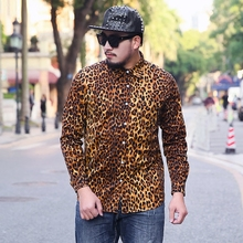 2XL-6XL Mens Leopard Floral Long Sleeve Lapel Slim Shirts Casual Tops Hot Plus Size C14