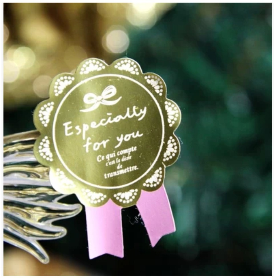 90Pcs Golden Pink Badge Especially For You Handmade Cake Packaging Sealing Label Kraft Sticker Baking DIY Gift Stickers M1145