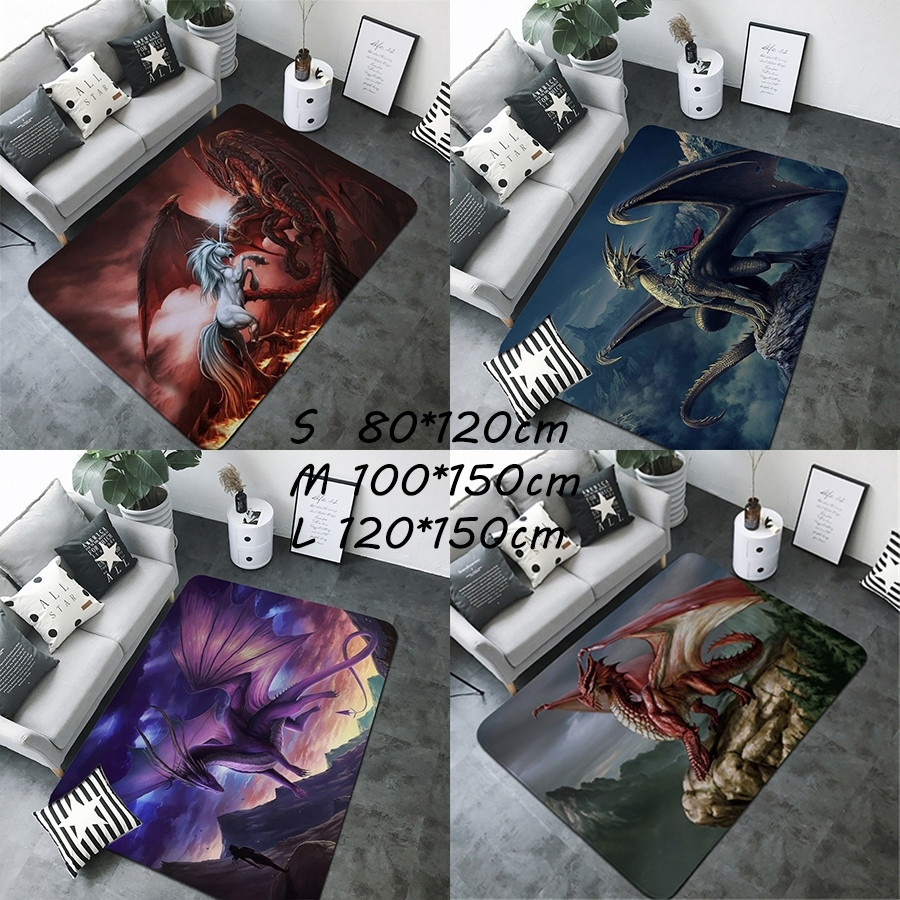 1PC Dragon Mysterious Creature Dragon Printed Rugs Living Room Floormat Play Mat Babyplay Carpet Mat Floormat Carpet For Bedroom