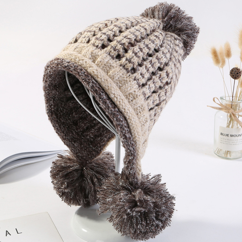 HT2125 Thick Warm Winter Hat Women   Skullies     Beanies   Three Pompoms Ball Earflap Ski   Beanies   Ladies Fashion Knitted Hats for Women