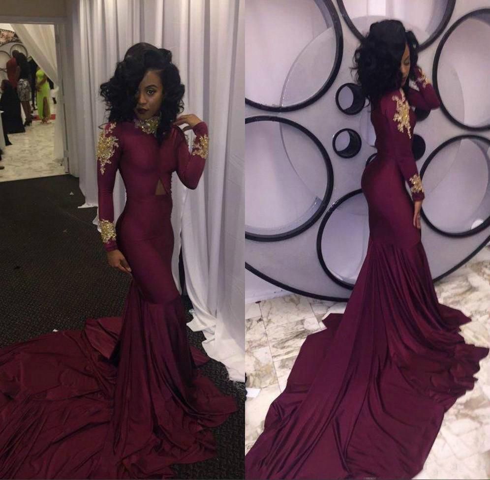 2019 Fashion Women Burgundy Prom Dress Sexy South African Gold Appliques Long Formal Evening Party Gown Custom Made Plus Size