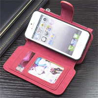 Genuine Leather Zipper Phone Cases For IPhone 5se 2 In 1 Multi Functional 14 Cards Holder