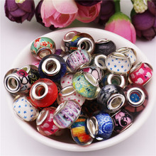 50pcs lot Mix color 5mm big hole round loose plastic resin murano spacer beads charms fit pandora bracelet for jewelry making