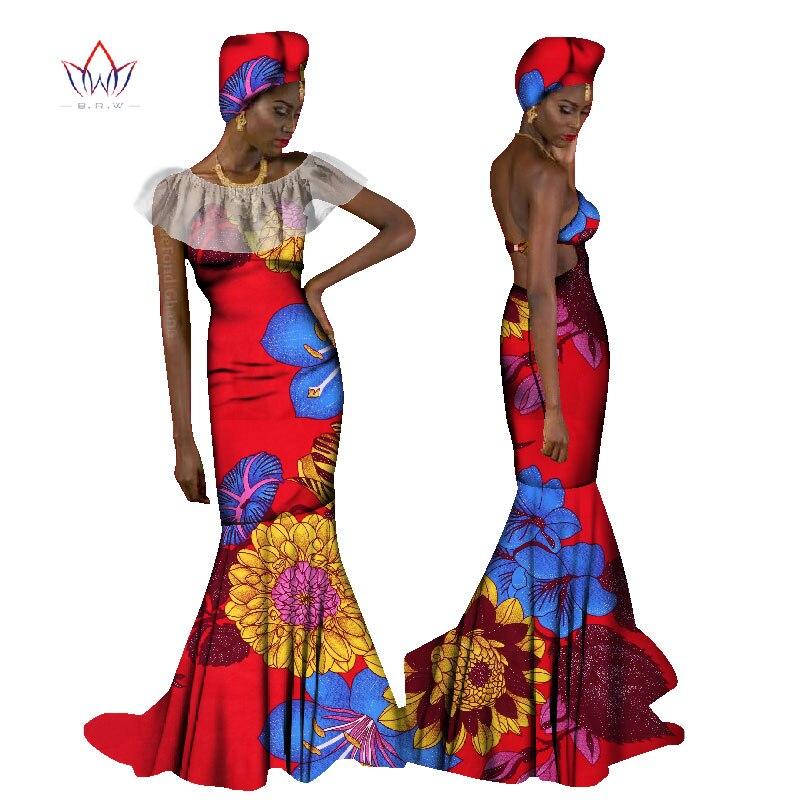 BRW 2017 Afrika Oblečení pro ženy Sexy dlouhé šaty Letní dámy Off Rameno Bez ramínek Party šaty Plus Velikost M-6XL WY1272