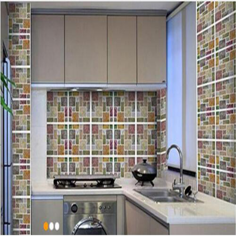 Vinyl Wall tile 2.0 new high quality self adhesive 3d mosaic wall kitchen tile backsplash self-adhesive and removable laser tile