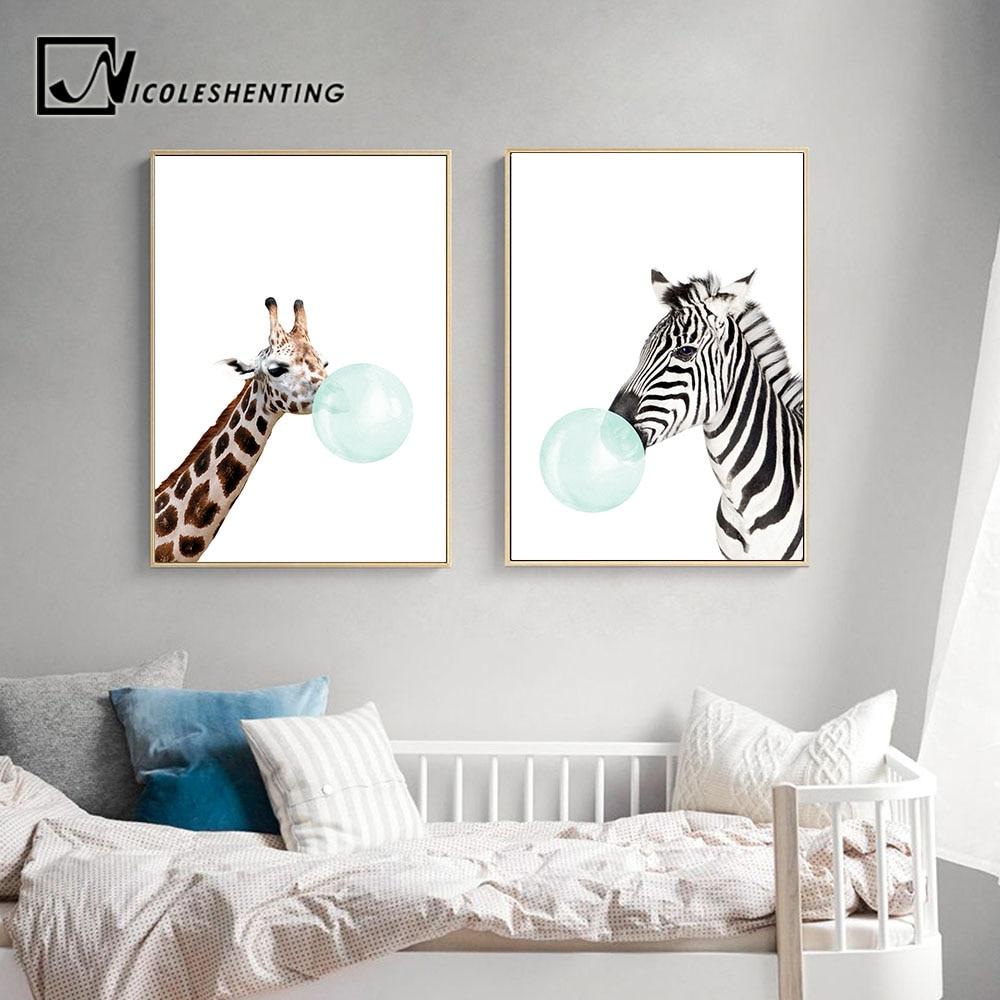 NICOLESHENTING Baby Animal Zebra Girafe Canvas Poster Nursery Wall Art Print Painting Nordic Picture Children Bedroom NICOLESHENTING Baby Animal Zebra Girafe Canvas Poster Nursery Wall Art Print Painting Nordic Picture Children Bedroom Decoration