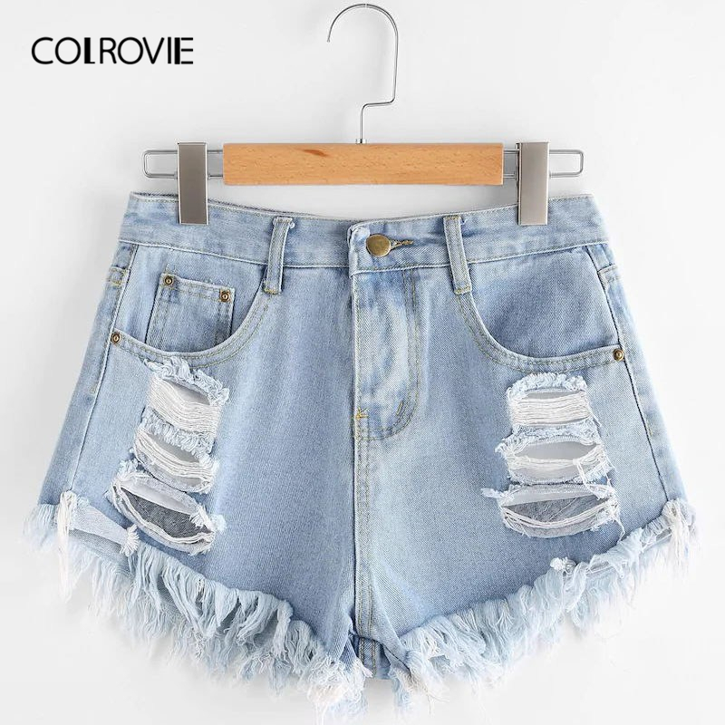 COLROVIE Plus Size Blue Solid Frayed Edge Ripped Casual Denim   Shorts   Women 2019 Summer Streetwear Button Fly Distressed   Shorts