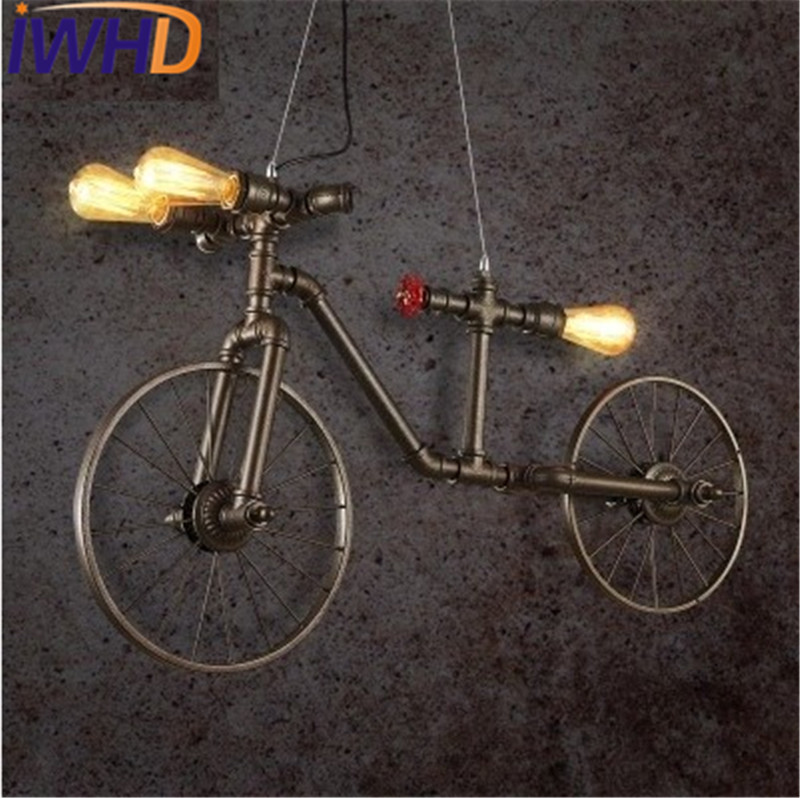 Loft Decor Bicycle Water Pipe Lamp Edison LED Pendant Light Fixtures Vintage Industrial Lighting For Dining Room Hanging Lamp