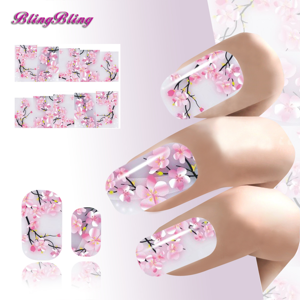 2PCS Sakura Nail Art Sticker Flowers Water Decals Transfer Foil Ongle Cherry Blossoms Design For Nails Wraps Manicure Decoration 2pcs new water transfer light gray white marble stone rock nail wraps sticker manicure decals nail foil sticker art sexy