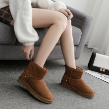 Comfortable warm casual suede fabric plus velvet women winter snow boots beautiful rivets decorated flat womens shoes
