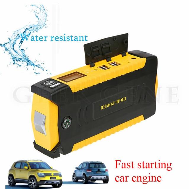 New Capacity Pertrol Diesel 12V Car Battery Starter 600A Peak Jump Starter Mini 4USB Power Bank Mini Compass SOS Light Free Ship