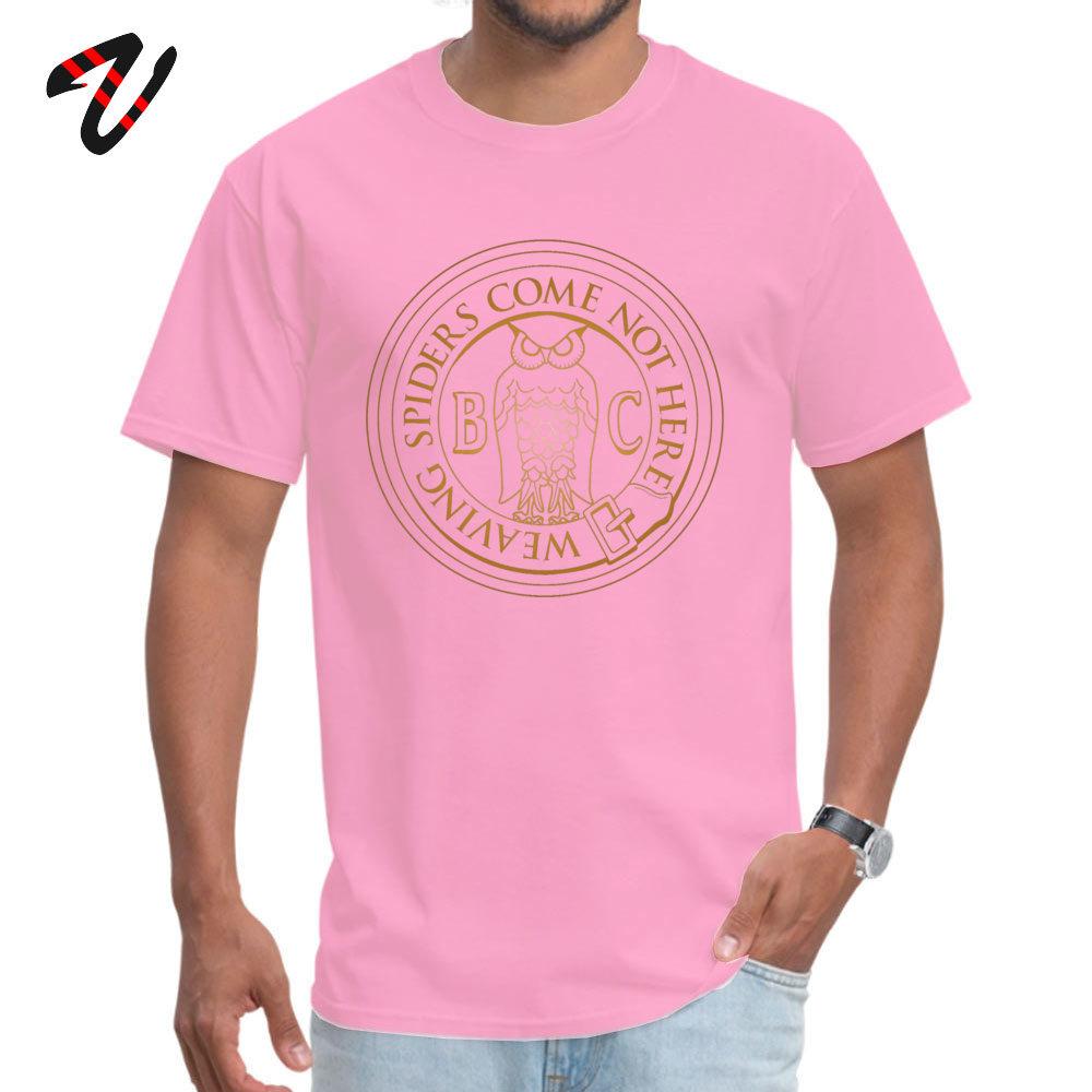 Printed On 100% Cotton Fabric Tops & Tees for Men Normal Top T-shirts Casual High Quality O-Neck T-shirts Short Sleeve Bohemian Grove Owl - Golden -10033 pink