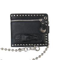 Punk Gothic Men Wallet Fashion Leather Purse Clutch Vintage Steampunk Rivets Mens Wallet Card Holders Vintage Chain Zipper Purse