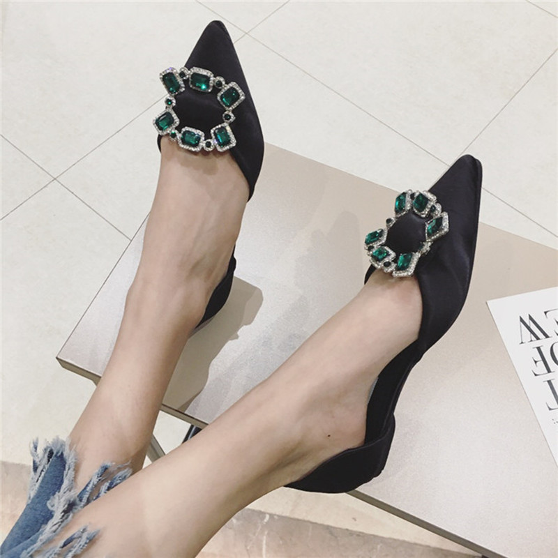 metal decoration Crystal Women Shoes Pointed Toe Ladies Flat Shoes Office Lady Flats Autumn Slip On Bow Shoes Women 2018