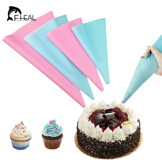 Fheal 4pcs Set Reusable Piping Bags Icing Bag Dessert Decorators Cake Decorating Cream Syringe