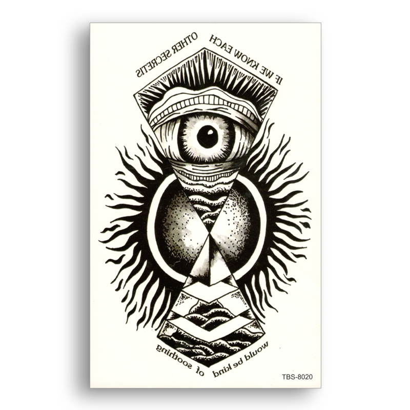 Temporary Fake tattoo Waterproof Water Transfer Tribal Totem Black Angel Eyes Stickers glitter Sexy Women Men Sexy Cool Body Art