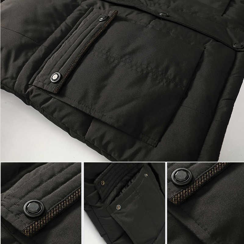 DIMUSI 冬のメンズ厚く暖かいジャケット男性綿綿毛裏地パーカー男性カジュアル Faxu 毛皮の襟ウインドブレーカーパーカー 5XL 、 TA237