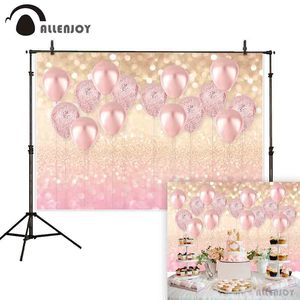 Image 2 - Allenjoy pink luxury balloon photography backdrop girl Boy bokeh glitter background Birthday Baby Shower photocall shoot prop