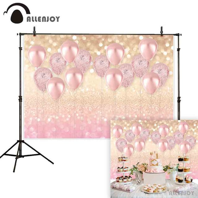 Allenjoy pink luxury balloon photography backdrop girl bokeh glitter background photocall photo shoot prop custom decoration