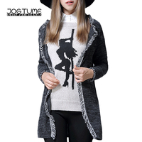 JOGTUME Plus Size Cardigan Knit Sweater for Women Long Sleeve Loose Tassel Fashion Fall Grey Knitwear Coats Plus Size(L 5XL)