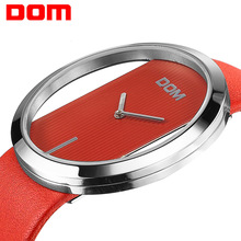 Women Watch DOM Luxury Märke Fashion Elegant Lady Läder Armbandsur Vattentät Casual Quartz Watch för Kvinnor Relogio Feminino