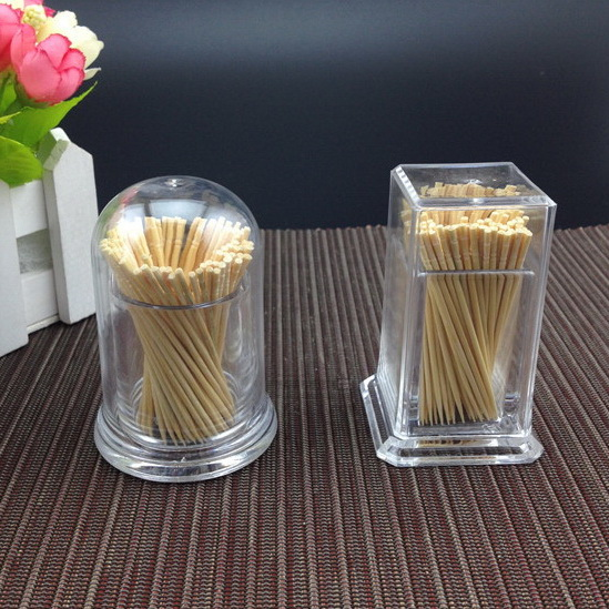 Transparent Box Round Square Plastic Toothpicks Dispenser