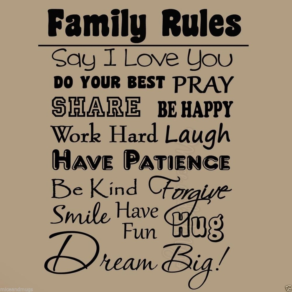Free Shipping Quotes Family Rules Wall Stickers Home Decoration Quotes Decals Removable Pvc