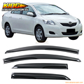 For 2007-2011 Toyota Yaris Smoked Aero JDM Wind Deflectors Stick On Window Visors USA Domestic Free Shipping