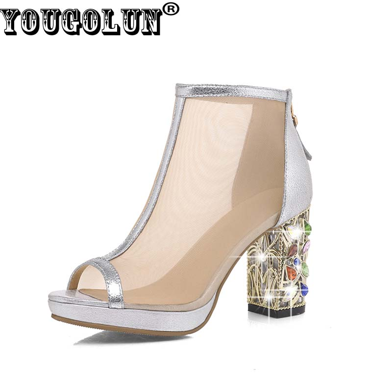 YOUGOLUN 2017 Women Mesh Summer Ankle Boots Sexy Woman Peep toe Upper High Square Heel 9cm