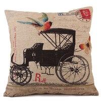 2014 NEW Decorative Handcart Wheelbarrow Linen Cotton Cushion Cover For Sofa Car Bed Seat Pillow Case