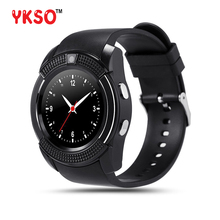 V8 YKSO Bluetooth Relógio Inteligente Com O Cartão SIM relógio inteligente wearable dispositivos 1.22 polegada Tela Relógio Inteligente para Android Samsung
