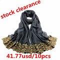 New fashion brand bandana islamic abaya soft cotton100% viscose solid infinity golden lace scarf women's shawl muslim hijab
