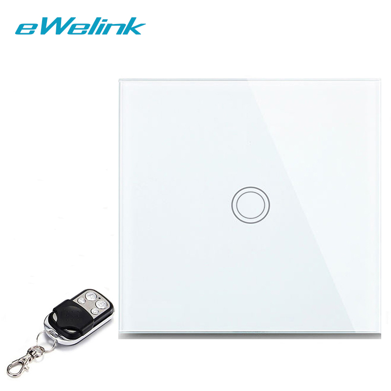 eWelink EU/UK 1 Gang 1 Way, Wireless Remote Control Light Switches, Crystal Glass Panel Touch Switch, RF433 Remote Wall Switch smart home eu touch switch wireless remote control wall touch switch 3 gang 1 way white crystal glass panel waterproof power