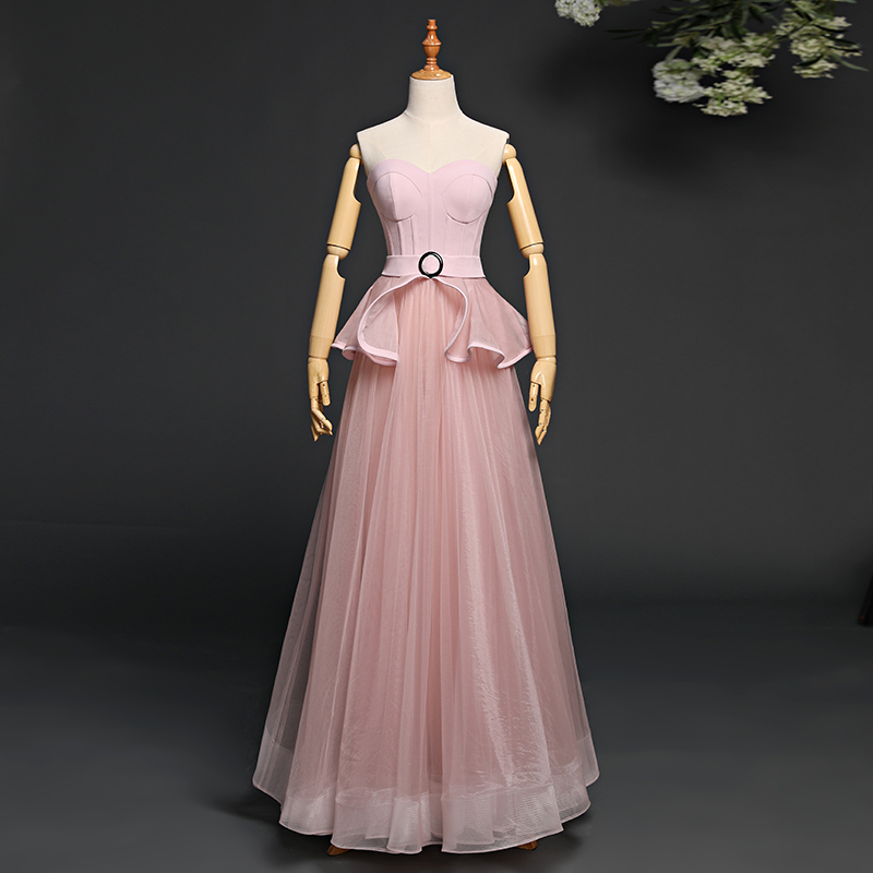 Autumn New Full manual Bandeau Tulle Sexy Star full Prom Party pink   Evening     dresses   2018 Sweet Ball Gown Birthday banquet   dress