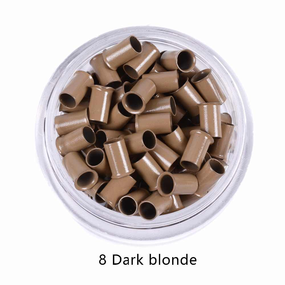 343060, 1000 piezas mucho Euro cerradura vaqueros quema Micro tubo de cobre anillos perlas enlaces extensiones de cabello humano 5 herramientas # marrón