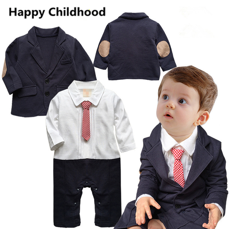 2017 Gentleman Baby Boy Clothes 2pcs newborn infant clothing sets baby wedding suit patch sleeve coat+baby boy romper with tie 2017 nice boy baby infant formal gentleman baby boy clothes button necktie suit romper 0 24m long sleeve baby clothing sets